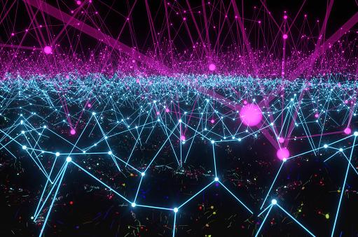 Neuroscience「An artificial intelligence neural network made of polygonal lines in the shape of an Atom Array over a black liquid.」:スマホ壁紙(1)