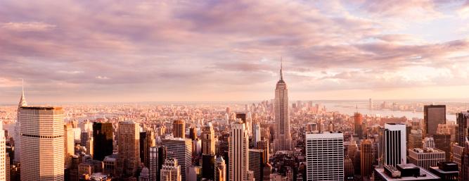 Manhattan - New York City「Panorama of New York City Skyline at Sunset」:スマホ壁紙(15)