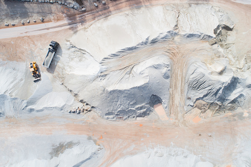 Construction Vehicle「Large gravel and quartzite quarry - aerial view」:スマホ壁紙(2)