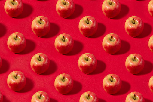Colored Background「Apple Fruit Pattern on Red Background」:スマホ壁紙(19)