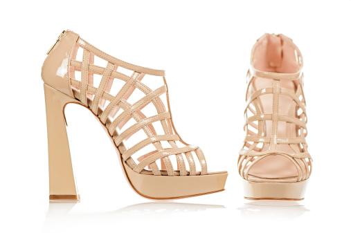 Ankle Strap Shoe「Fashionable High Heels sandals in nude color」:スマホ壁紙(6)