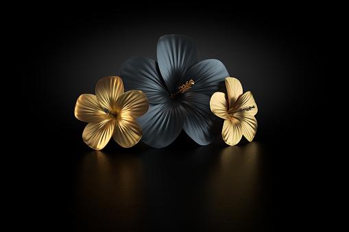 Floral Pattern「Hibiskus gold」:スマホ壁紙(19)