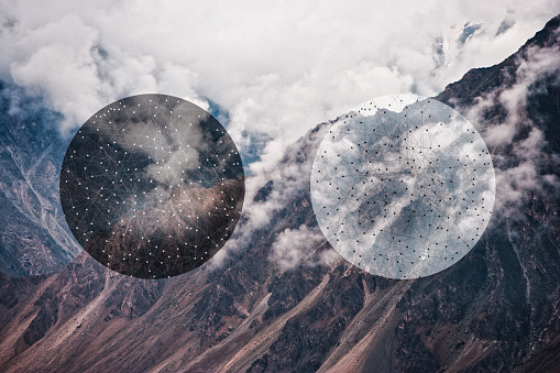 Digital Composite「Glitch effect of spheres and mountains, Hunza, Northern Areas, Pakistan」:スマホ壁紙(16)