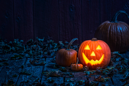 Happiness「Smiling Jack O' Lantern on old wooden porch in the moon light」:スマホ壁紙(8)