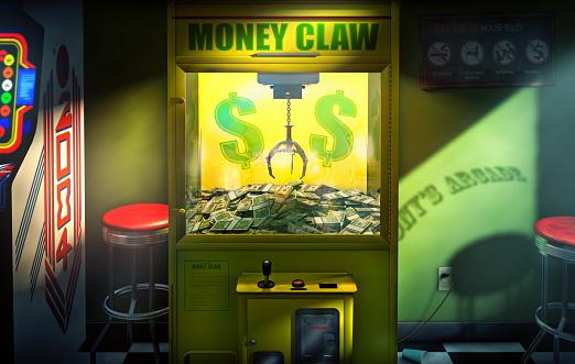 Claw「Claw grabbing money in money claw arcade machine」:スマホ壁紙(4)