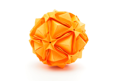 Origami「One orange origami polyhedron paper craft design」:スマホ壁紙(17)
