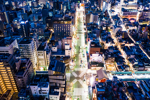 Townscape「Bird's eye view of the lighted-up cityscape」:スマホ壁紙(5)