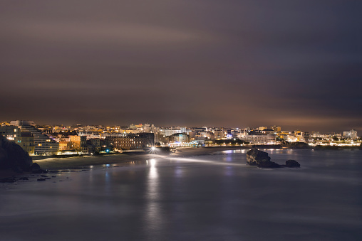 Nouvelle-Aquitaine「France, Biarritz at night」:スマホ壁紙(12)