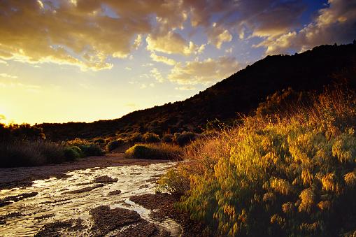 Sandia Mountains「sunset desert mountain landscape stream and sky」:スマホ壁紙(11)