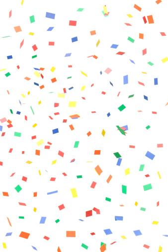 カラフル「紙、スクエア落ちる紙吹雪長方形、白で分離」:スマホ壁紙(16)