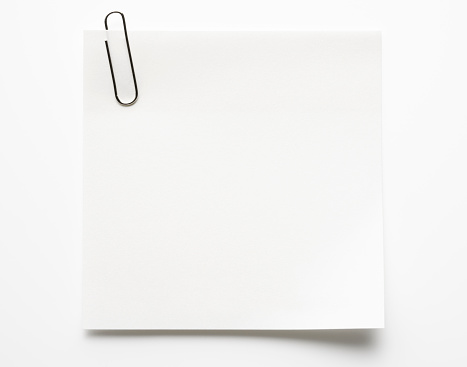 Adhesive Note「Blank white sticky note with paper clip on white background」:スマホ壁紙(1)