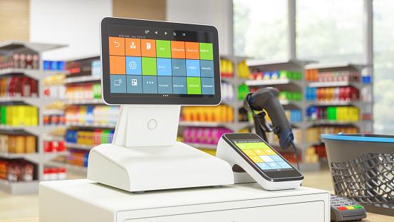 Retail「Cashier machine with digital screen in the Supermarket」:スマホ壁紙(19)