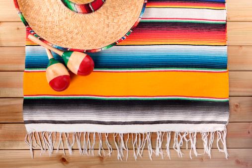 Mexico「Mexican serape rug with sombrero and maracas」:スマホ壁紙(12)