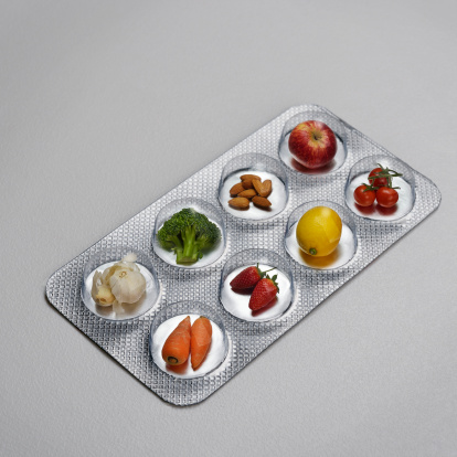 Medicine「Pill blister pack containing fruit and vegtables」:スマホ壁紙(1)