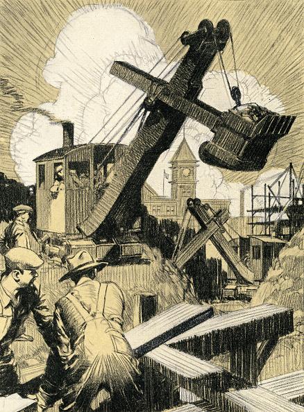 Construction Vehicle「Steam Shovel And Laborers」:写真・画像(1)[壁紙.com]
