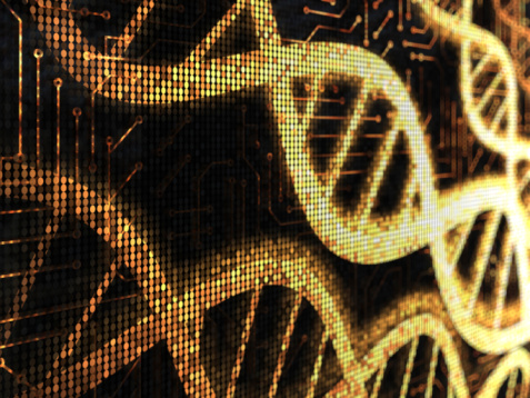 Mother Board「Yellow pixelated DNA strands on a black background」:スマホ壁紙(5)