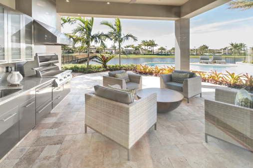 Stone Material「Outdoor patio kitchen luxury exterior」:スマホ壁紙(19)