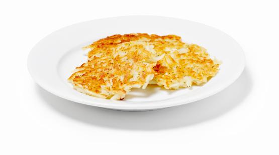 Crunchy「Potato pancakes in a dish on a white background」:スマホ壁紙(13)