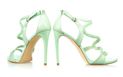 Ankle Strap Shoe「Elegant High Heels sandals in mint green」:スマホ壁紙(3)