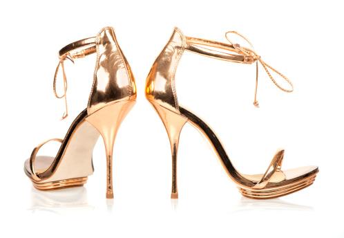 Ankle Strap Shoe「Elegant High Heels in metallic gold color with ankle straps」:スマホ壁紙(2)