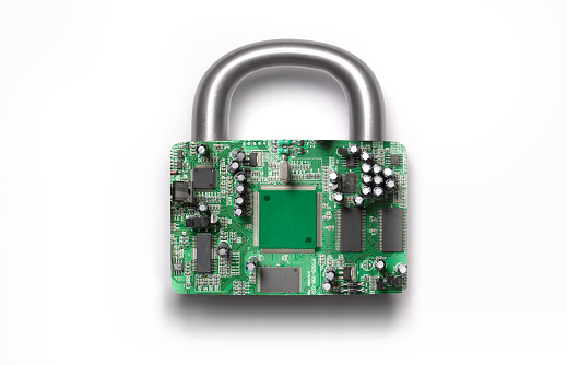 Circuit Board「Cyber security padlock on white background」:スマホ壁紙(6)