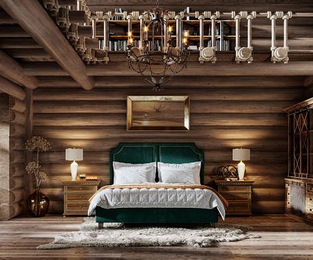 Chalet「Cozy bedroom inside winter cottage in 3d render」:スマホ壁紙(7)