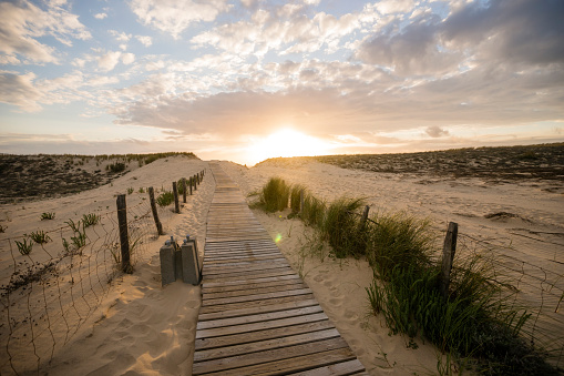 Nouvelle-Aquitaine「France, Lacanau, wooden boardwalk in the beach dunes at evening twilight」:スマホ壁紙(3)