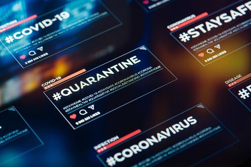 Hope - Concept「#quarantine hashtag for social networks close-up on digital display」:スマホ壁紙(2)