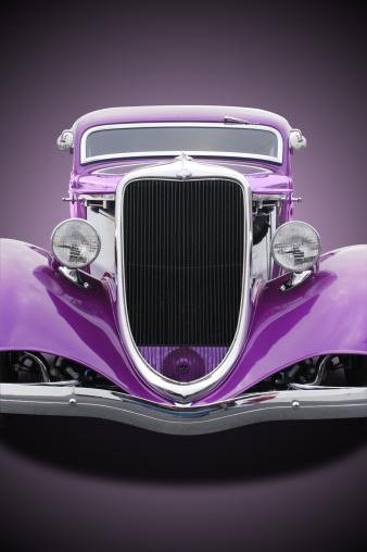 Hot Rod Car「Auto Car - 1934 Ford Hot Rod Front Purple」:スマホ壁紙(0)
