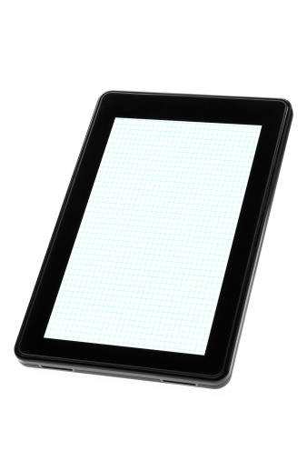 Touch Screen「Digital tablet device displaying blank white graph paper」:スマホ壁紙(3)