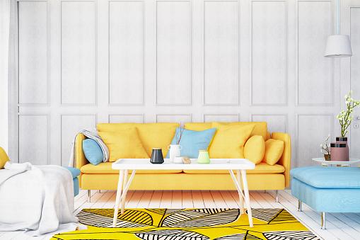 Home Interior「Modern Bright Living Room with Sofa」:スマホ壁紙(15)