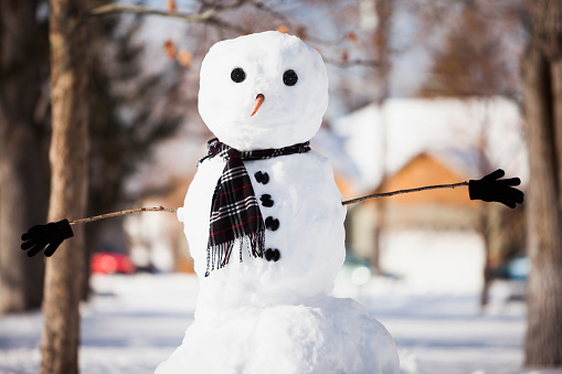 雪だるま「Snowman wearing scarf outdoors」:スマホ壁紙(7)
