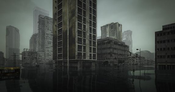 Extreme Weather「Flooded Post Apocalyptic Urban Landscape」:スマホ壁紙(19)