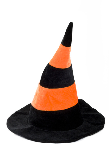 Halloween costume「Black and orange witch hat isolated on a white background」:スマホ壁紙(5)