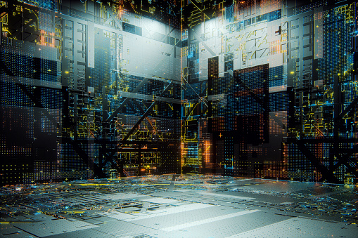 Circuit Board「Empty futuristic room」:スマホ壁紙(9)