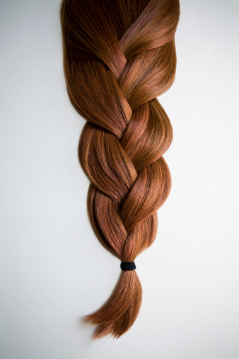 Brown Hair「Still life of red haired braid on white background」:スマホ壁紙(3)