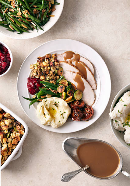 Overhead of turkey meal on white surface:スマホ壁紙(壁紙.com)