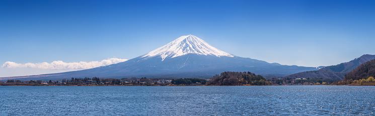 富士山「富士山と Kwaguchi 湖の高解像度パノラマビュー、富士河口湖、Minamitsuru 区、山梨県、日本」:スマホ壁紙(15)