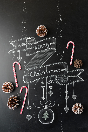 Candy Cane「Board with candy canes, writing and pine cones」:スマホ壁紙(0)