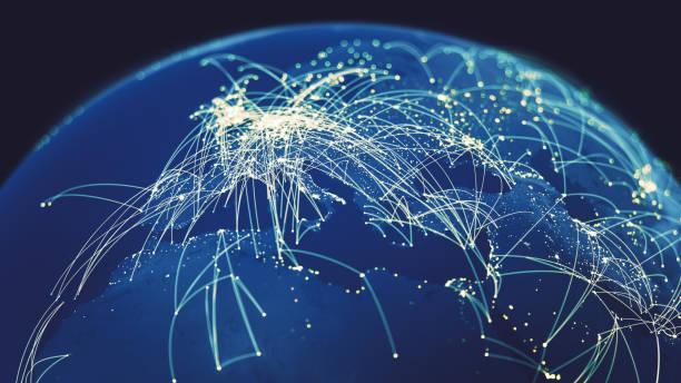 Global Connections (World map texture credits to NASA):スマホ壁紙(壁紙.com)