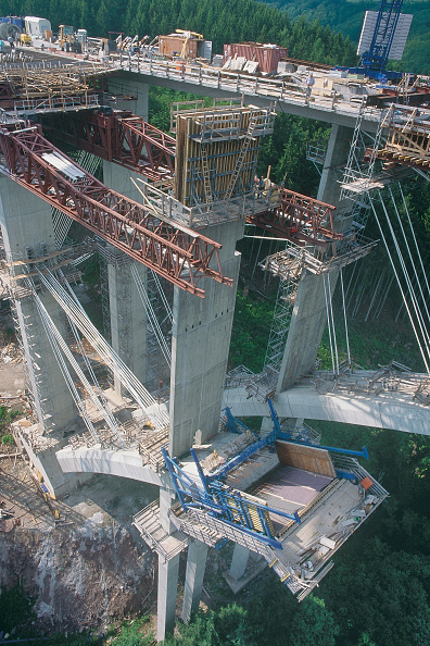 Business Finance and Industry「A60 Kylltal motorway bridge, Germany. Cable supported formwork for Concreting Bridge Arch on Motorway Bridge. Temporary cable stays are used to suspend the growing arches during construction for a concrete autobahn bridge on the A60 (E42) route between G」:写真・画像(17)[壁紙.com]