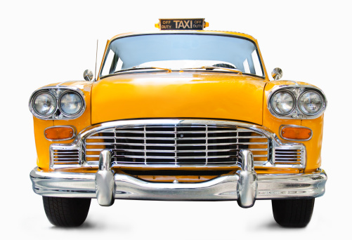 Old-fashioned「Classic yellow cab on white background」:スマホ壁紙(9)