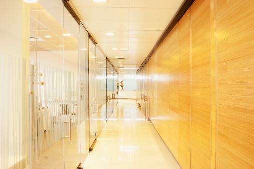 South Africa「Empty glass and wood modern office corridor」:スマホ壁紙(0)
