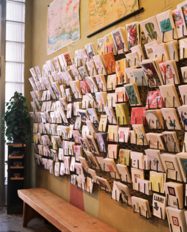 Sale「Greeting cards displayed on wall in shop」:スマホ壁紙(5)