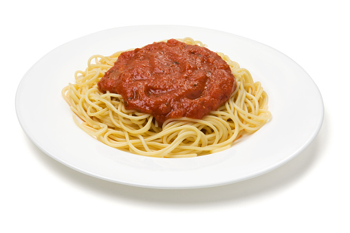 Tomato Sauce「Plate of spaghetti with red sauce on a white plate」:スマホ壁紙(16)