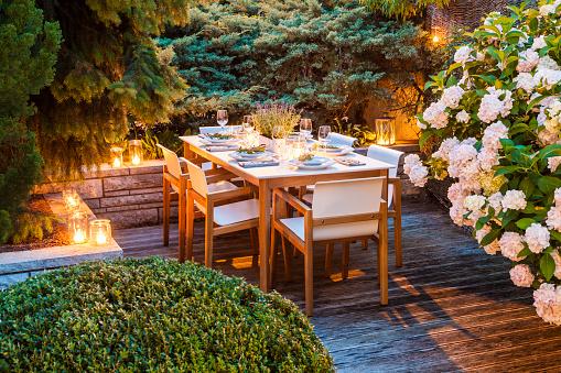 Hydrangea「Laid table on lighted terrace」:スマホ壁紙(5)