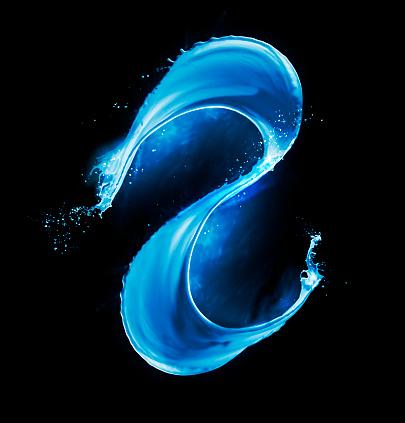 Vitality「Blue paint splash in midair on black background」:スマホ壁紙(10)