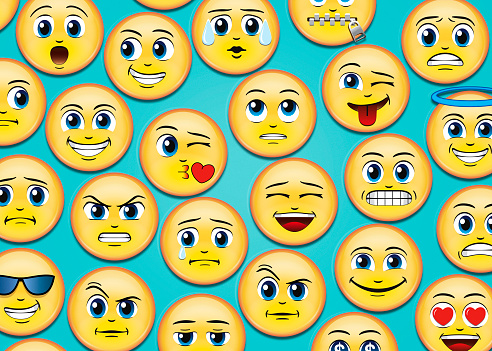 Cool Attitude「Manga Anime Emoji Emoticons on blue background」:スマホ壁紙(6)