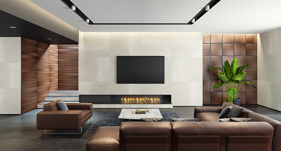 Black Color「Modern spacious minimalist living room with eco fireplace」:スマホ壁紙(2)