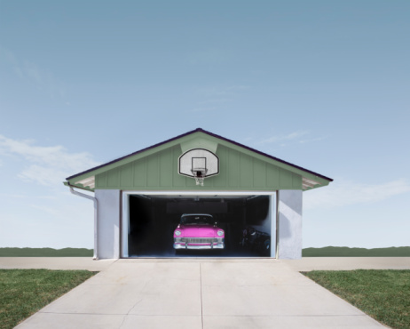 California「Classic Car in Suburban Garage」:スマホ壁紙(5)